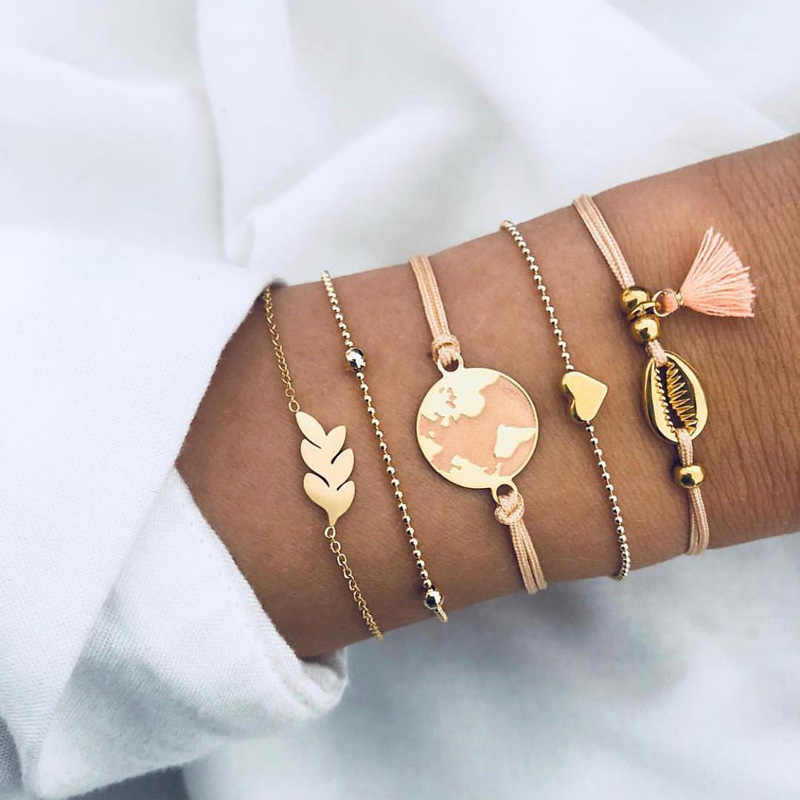 5pcs/set Bohemian Shell Bracelet Earth Love Leaf Tassel Charm Bracelets Set Women Multilayer Chain Rope Bracelet Jewelry