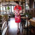 Seda vermelha Vestido Tradicional Chinês Cheongsam Qipao Mini Projeto Robe Chinoise Qi Pao Vestido Oriental Vestidos De Noite Curtos Mulheres
