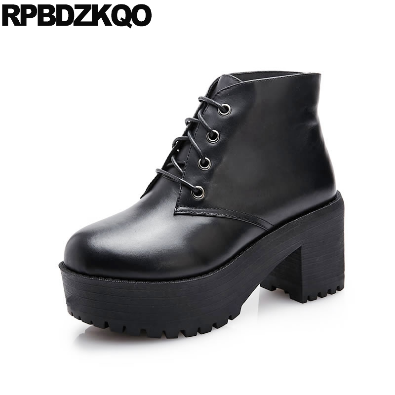 Elevator Lace Up Genuine Leather Autumn Harajuku Platform Brand Women Winter Boots Ankle Fur Black Booties Chunky Fall Short New wide calf designer slip on trend short harajuku shoes japanese flat women boots winter 2017 ankle autumn black lace up female