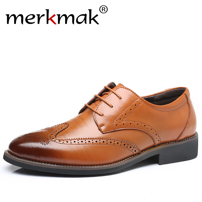 Merkmak Luxury Designer Formal Men Dress Shoes Genuine Leather Classic Brogue Shoes Flats Oxfords For Wedding Office Business men luxury crocodile style genuine leather shoes casual business office wedding dress point toe handmade brogue footwear oxfords page 4 page 5 page 4 page 4