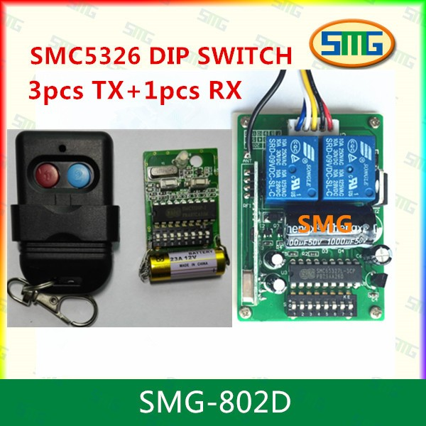 Auto Gate Remote Control Receiver 5326 Dip Switch 433mhz In Remote