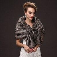 2017 New Arrival Grey Wedding Party Women Faux Fur Stole Wraps Cape Bride Fall Winter Shrug