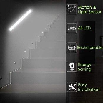 Sensor De Movimiento Luz Nocturna   Sensor De Movimiento PIR CC Y USB Recargable 68 Leds Led Atenuable Para Armario Luz De Noche Portátil Para Emergencia, Armario De Cocina