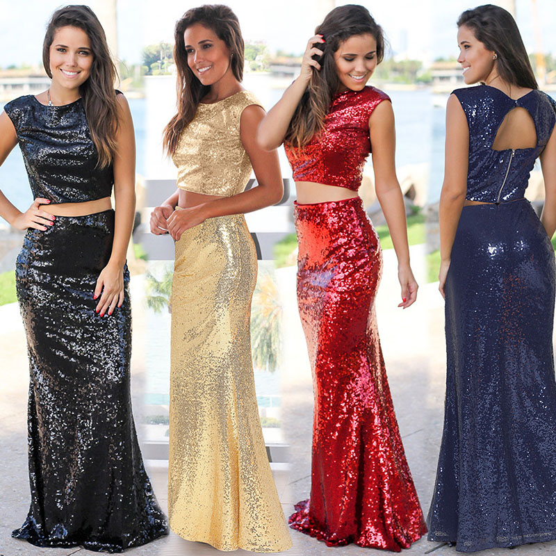 Plus Size S-2xl Women Dress Sequins Party Dress Fishtail Floor-Length Long Skirt Evening Dress Lumbar