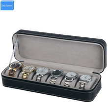 цена на Retail/Wholesale Sport Protect Watches Leather Zippered 6 Grids Watch Box Case Travel Port Black Watch Display/Storage Organizer