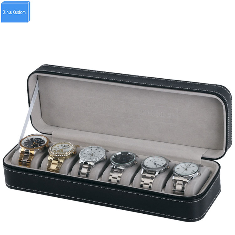 Retail/Wholesale Sport Protect Watches Leather Zippered 6 Grids Watch Box Case Travel Port Black Watch Display/Storage Organizer