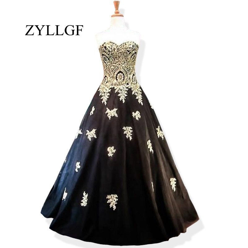 ZYLLGF New Fashion Mother Dress Ball Gown Sweetheart Gold Lace Women Formal Dresses Black Wedding Party Gowns RS68