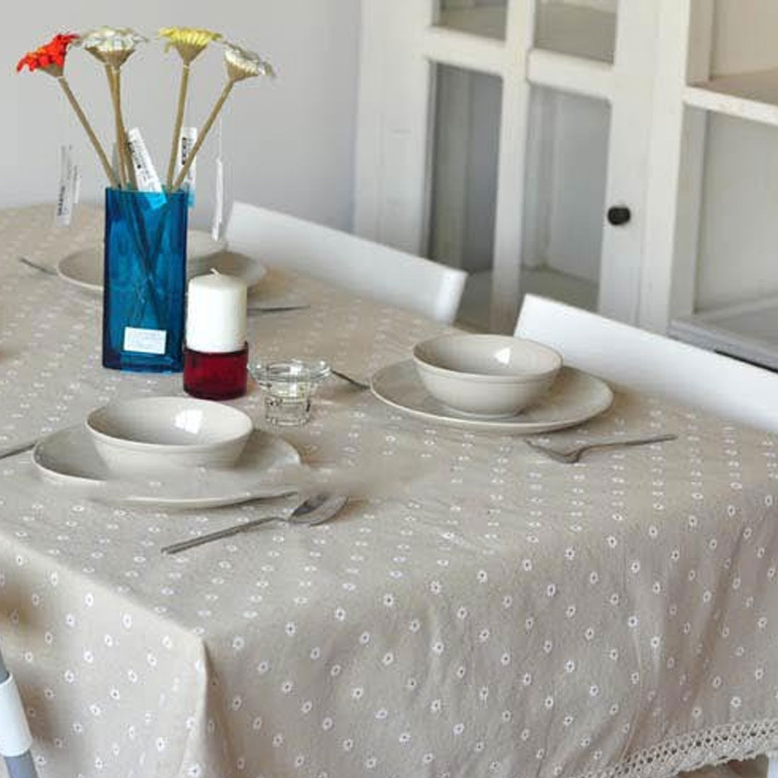 Top Sale Table Accessaries Floral Dustproof Table Covers Lace Edge Country Style Linen Cotton Table Cloth