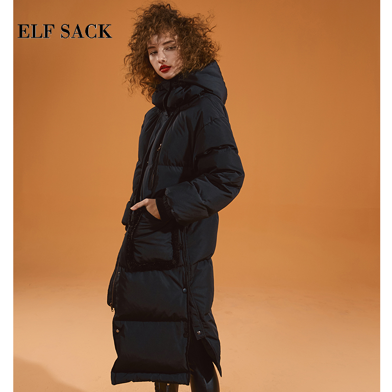 ELF SACK New Woman Down Coat 90% White Duck Down Full Zipper Femme Thick Jackets Casual Purple Female Coats For Winter Wearing