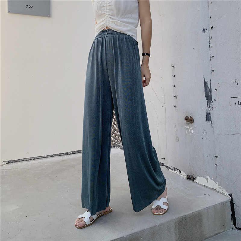 Neue Mode Sommer Eis Seide Stricken Breite Bein Hosen Weibliche Hohe Taille Schlank Solide Lose Gerade Hosen Wischen Hosen Hosen femme
