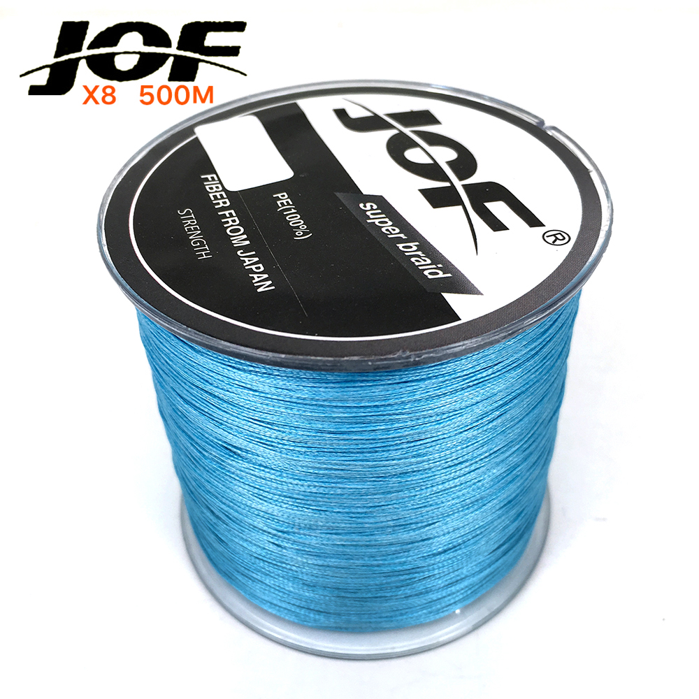Jof 500m braided pe fishing line 8 strands strong for 20 lb braided fishing line