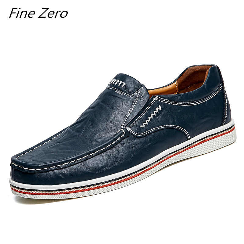 Fine Zero New Brand Oxfords Shoes Men's Genuine Leather Casual Shoes Men Spring Autumn Men's Shoes Slip-On Solid Men Flat Shoes