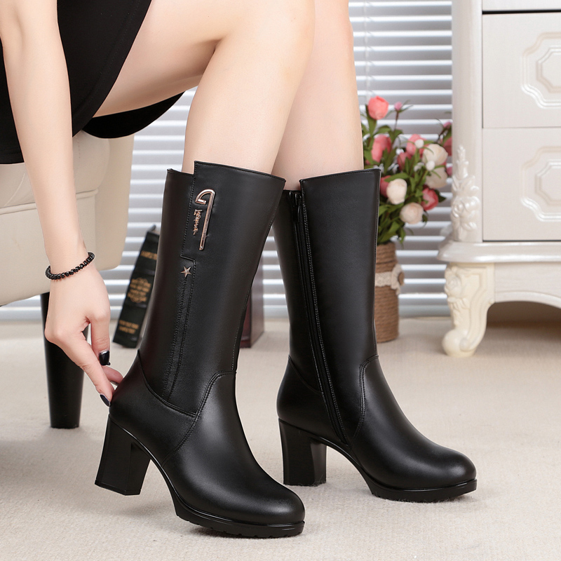 ФОТО 2016 Winter boots new natural genuine leather boots 100% high heels thick warm wool lined women's motorcycle boots fashion