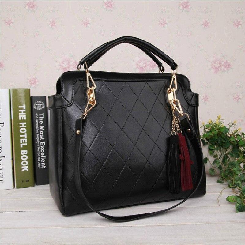ФОТО 2016 New Fashion Women Lingge Handbags Tassel Shoulder Bags Female Bolso Sac Ladies Bolsa free shipping