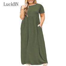 3XL-9XL Large Size Dress Womens Tunic Summer Elegant Short Sleeve O Neck Pocket Maxi Long Dresses Plus Vestidos