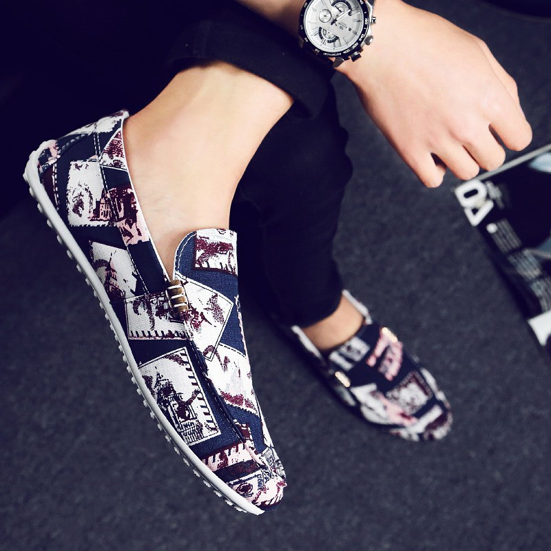 Designer Loafers 2019 Animal Prints Canvas Casual Shoes Men High Quality Flats Fashion Breathable Mens Slip On Red Shoe for Men in Men 39 s Casual Shoes from Shoes