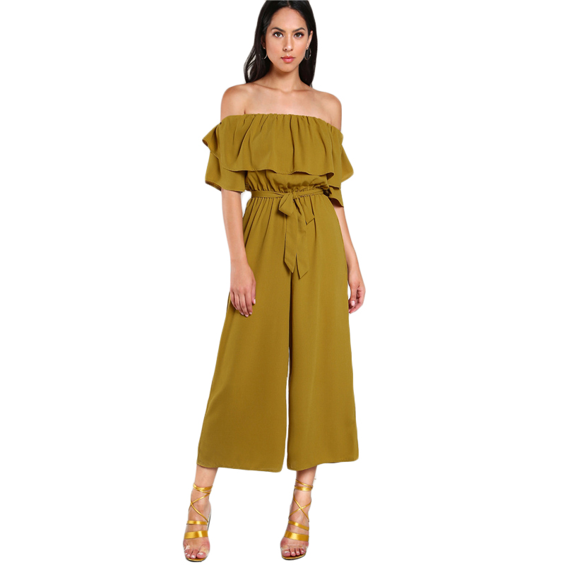 COLROVIE Sexy Flounce Culotte Jumpsuit Women Off Shoulder Self Tie Yellow Jumpsuits 2017 New Ruffle Half Sleeve Elegant Jumpsuit 10