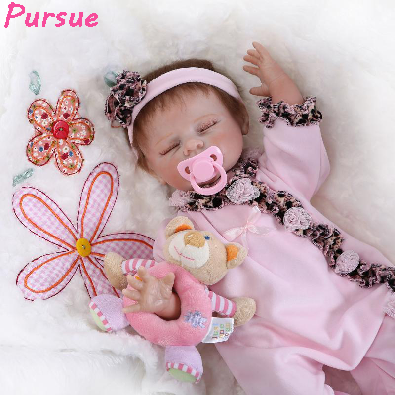 Pursue 20 Fashion Silicone Baby Dolls Reborn Babies American Girl Sleeping Doll Toys bebe reborn menina de silicone menina 53cm pink wool coat doll clothes with belt for 18 american girl doll