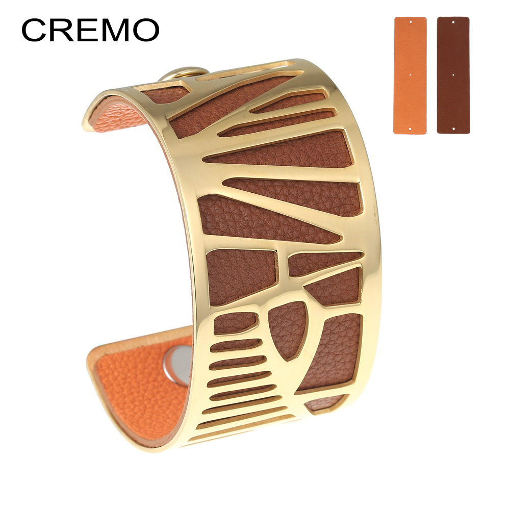 Cremo Parrot Cuff Leather Bracelets Bangles Reversible Stainless Steel Interchangeable Charm 40mm Leather Tucano Bangle Pulseras cremo labyrinth bangles stainless steel bracelets femme bijoux manchette reversible 40mm wide maze leather bangle pulseiras