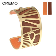 Cremo Parrot Cuff Leather Bracelets Bangles Reversible Stainless Steel Interchangeable Charm 40mm Leather Tucano Bangle Pulseras