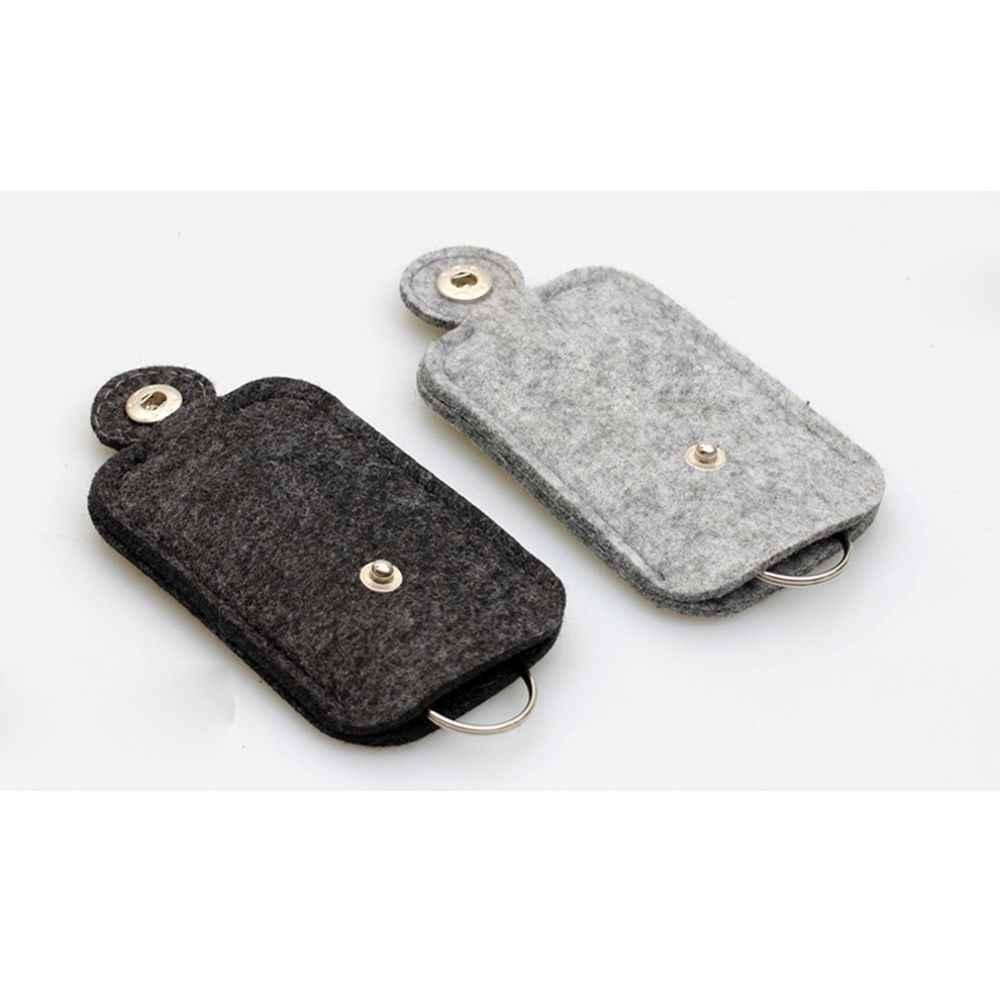 1 pc 패션 자동차 키 가방 지갑 지갑 모직 펠트 키 체인 홀더 포켓 키 주최자 파우치 케이스 가방 남자 주부