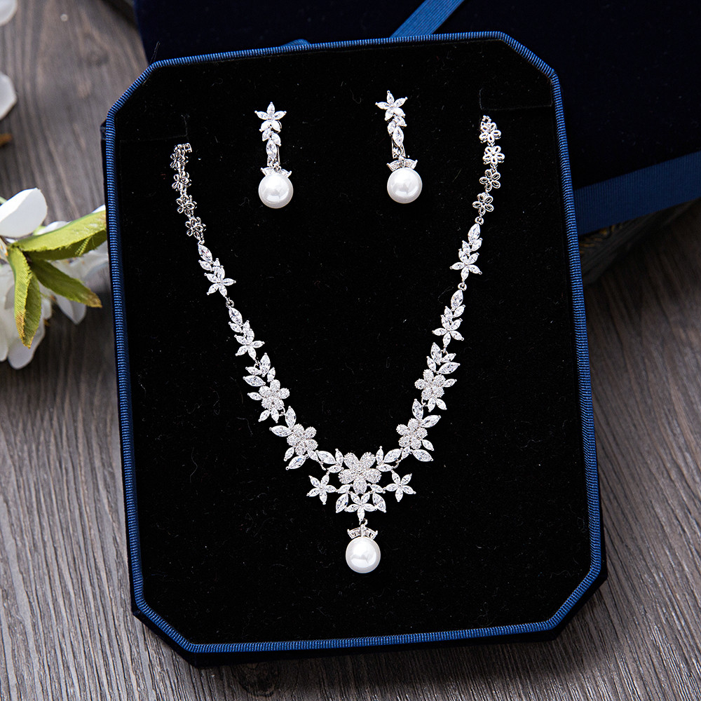 Romantic Women Wedding Jewelry Sets Cubic Zirconia CZ Brides Accessories Flower Necklace Dangle Earrings for Party
