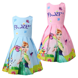 Printed Cartoon Baby Girl Clothes Flower Girl Dresses Princess Anna Snow Queen Elsa Costume Elsa Dress Beach Party Dress Elegant