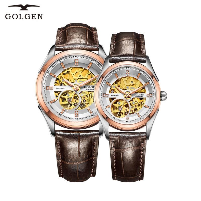 GOLGEN N Top Brand Luxury Couple Watch Skeleton Mechanical Men Women Wristwatch 50M Waterproof  Watches