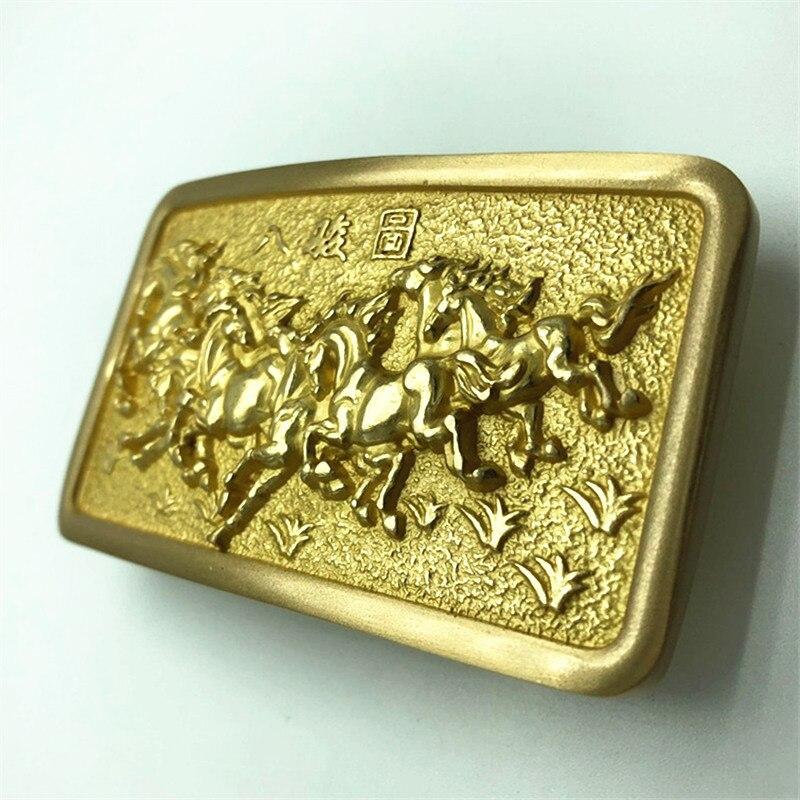 Pure Copper Vintage Antique Belt Buckle 8 Horses Western Cowboy Mens Fashion Fine Accessory