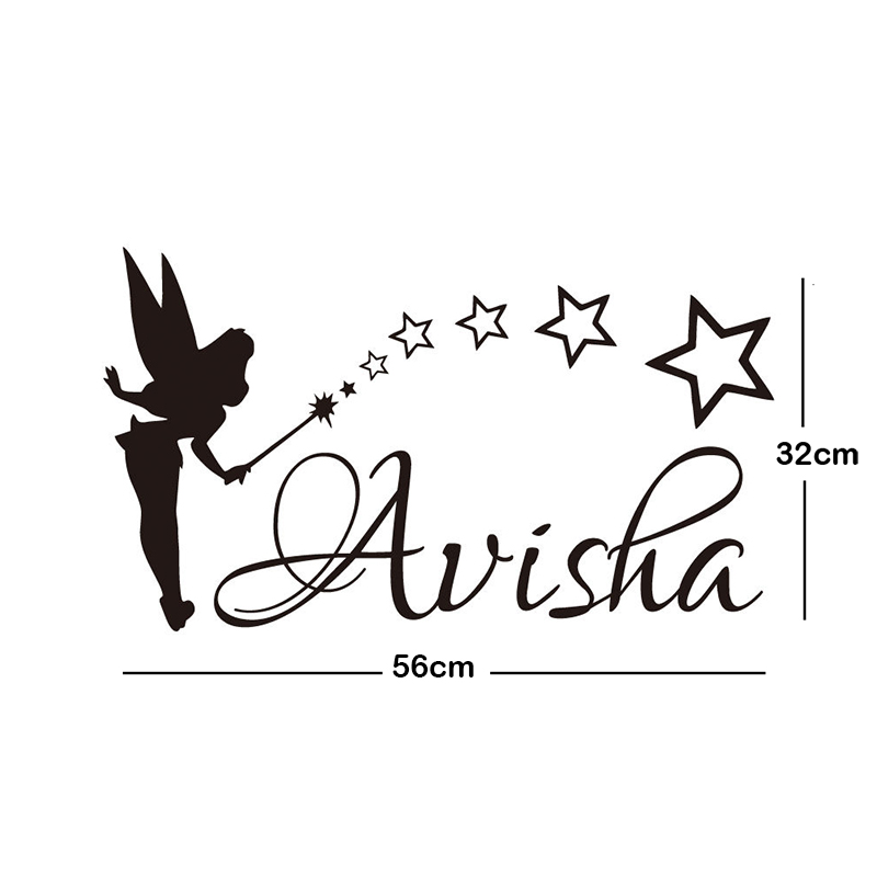 Custom any kids name diy wall sticker art decals for tiny tots room decor fairy sowing dust stars vinyl decals ja680 in wall stickers from home garden on