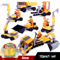12Pcs/Set Lepin Mini Alloy Engineering Car Model Tractor Enlightenment Toy Dump Truck Model Classic Toy Vehicles Gift For Boys