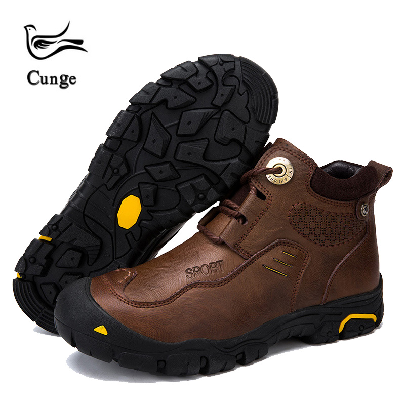 Male Waterproof Hiking Shoes Handmade Leather Boots Men Breathable Boots Winter Warm Snow Boots Work Shoes