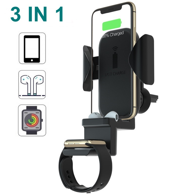 10W Car QI Wireless Charger for iPhone Airpods Apple Watch 1 2 3 4 Fast Airvent Mount Holder