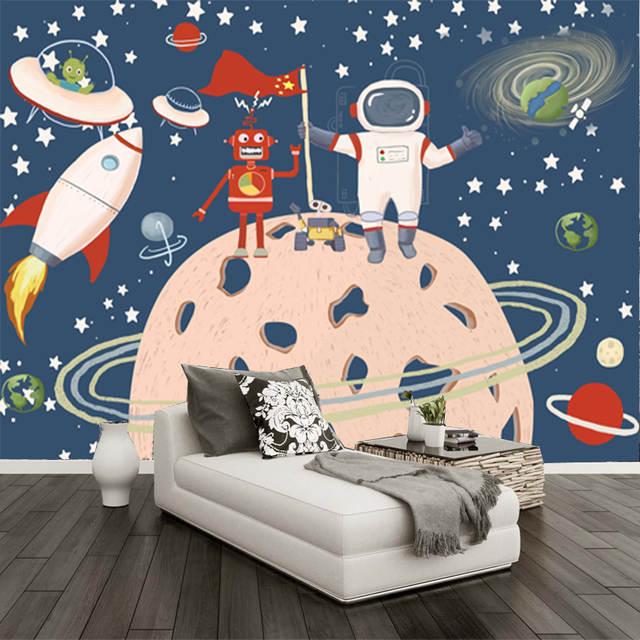 Benutzerdefinierte Cartoon Raum Raumschiff Tapete Kinderzimmer Dekoration Tapete Kindergarten Hintergrund Wand Tapete Wandbild