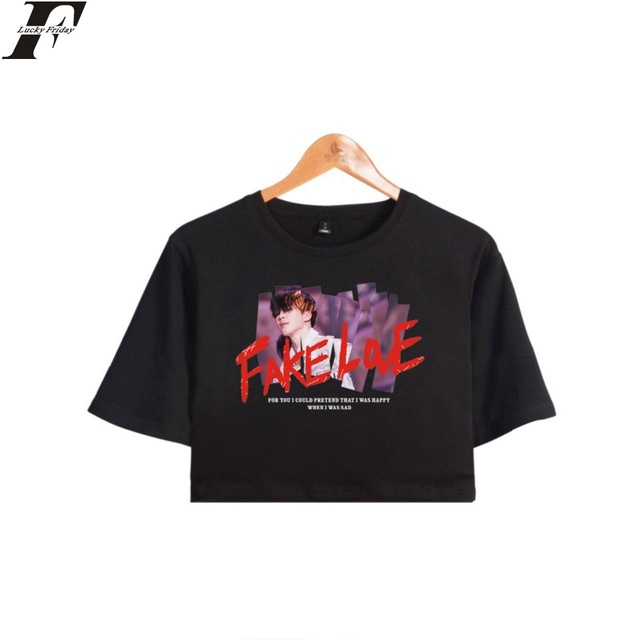 ab7f9bb83a802 LUCKYFRIDAYF FAKE LOVE T-shirt 100% Cotton Crop Top 2018 BTS Short Sleeve T- shirt Hip Hop Short T-shirt Clothes Casual Plus Size