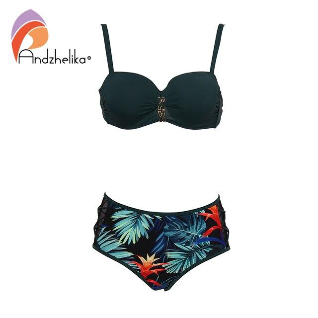 Andzhelika Green Print Bikini Set Women Bandage Mesh Mid Waisted Bikinis Two Pieces Swimwear 2020 Beach Bathing Suits Swimsuits