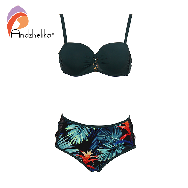 Andzhelika Green Print Bikini Set Women Bandage Mesh Mid-waisted Bikinis Two Pieces Swimwear 2019 Beach Bathing Suits Swimsuits