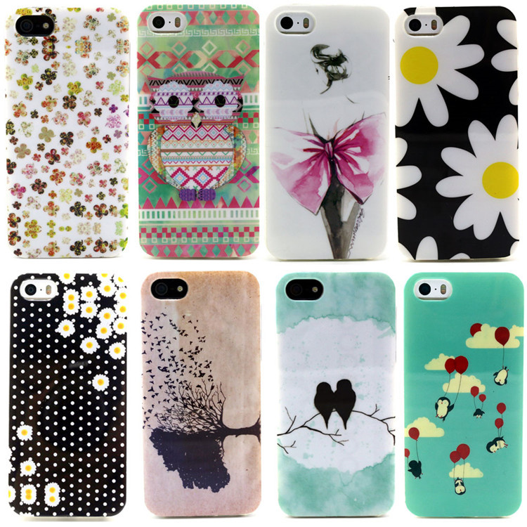 Free shipping Animal Owl/Leaf/Butterfly/Flower/Daisy pattern Case For iPhone 5S 5 5G Mobile Phone shell CSJK0216