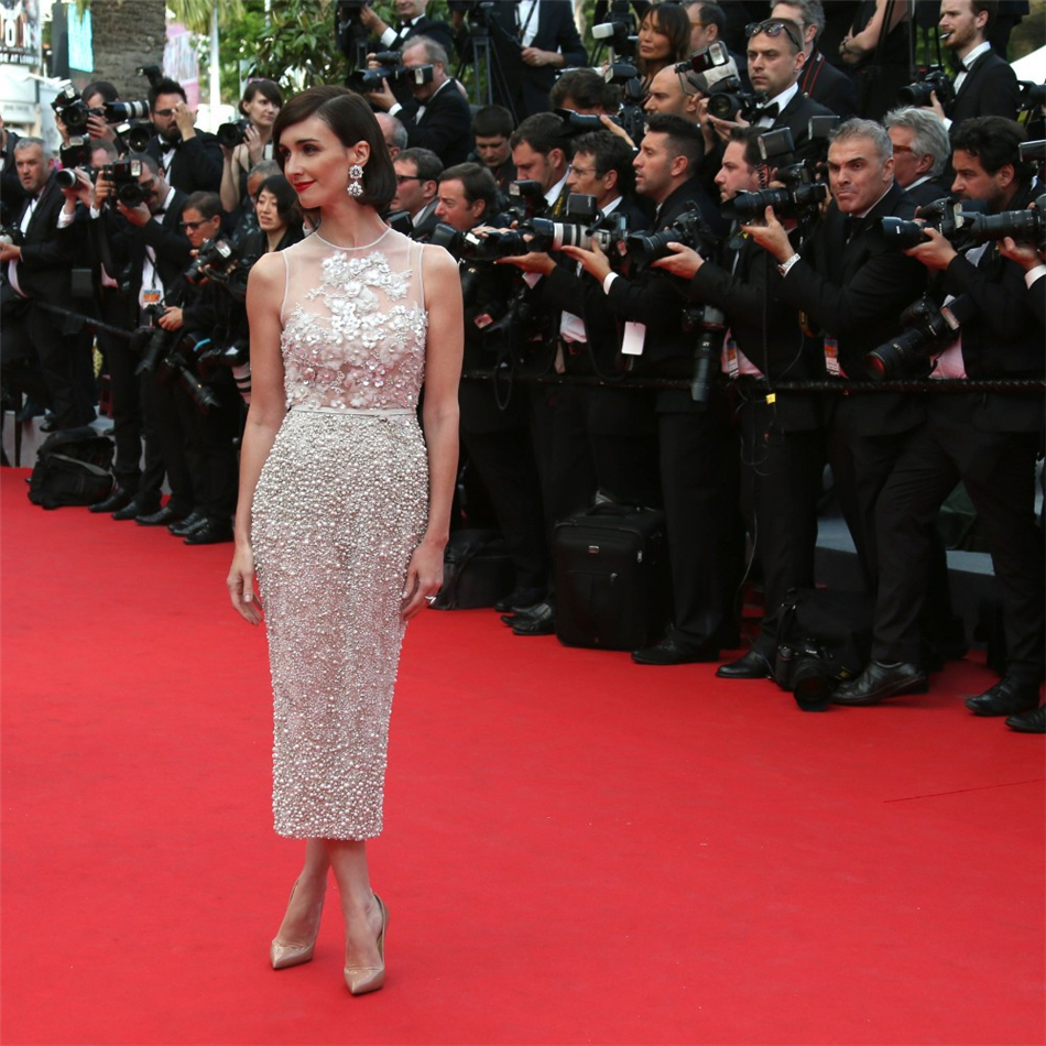 Unique design cannes red carpet dress crystals pearl - Designer red carpet dresses ...