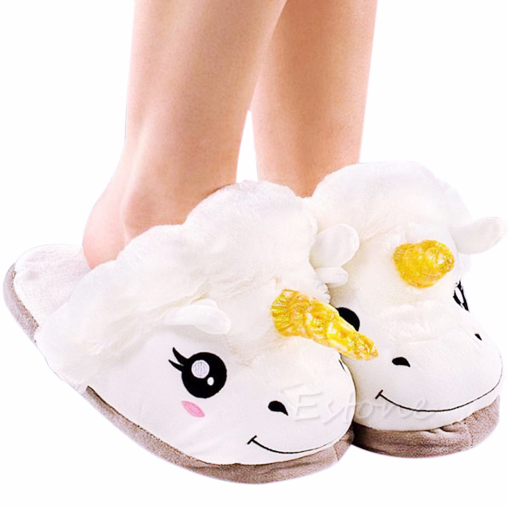 THINKTHENDO Adult Plush Winter Warm Soft Cute Men Women Unicorn Slippers Home Indoor Shoes b i m cute bowknot warm winter women home slippers for indoor house bedroom plush shoes soft bottom flats christmas gift z133