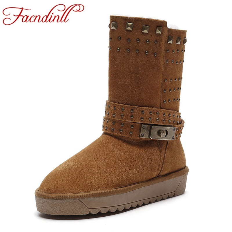 FACNDINLL new fashion winter snow boots genuine leather platform flat wide shoes woman ankle boots casual real fur winter boots platform genuine leather wedge shoes 2017 round toe casual grey real fur winter short furry snow boots women ankle new fashion
