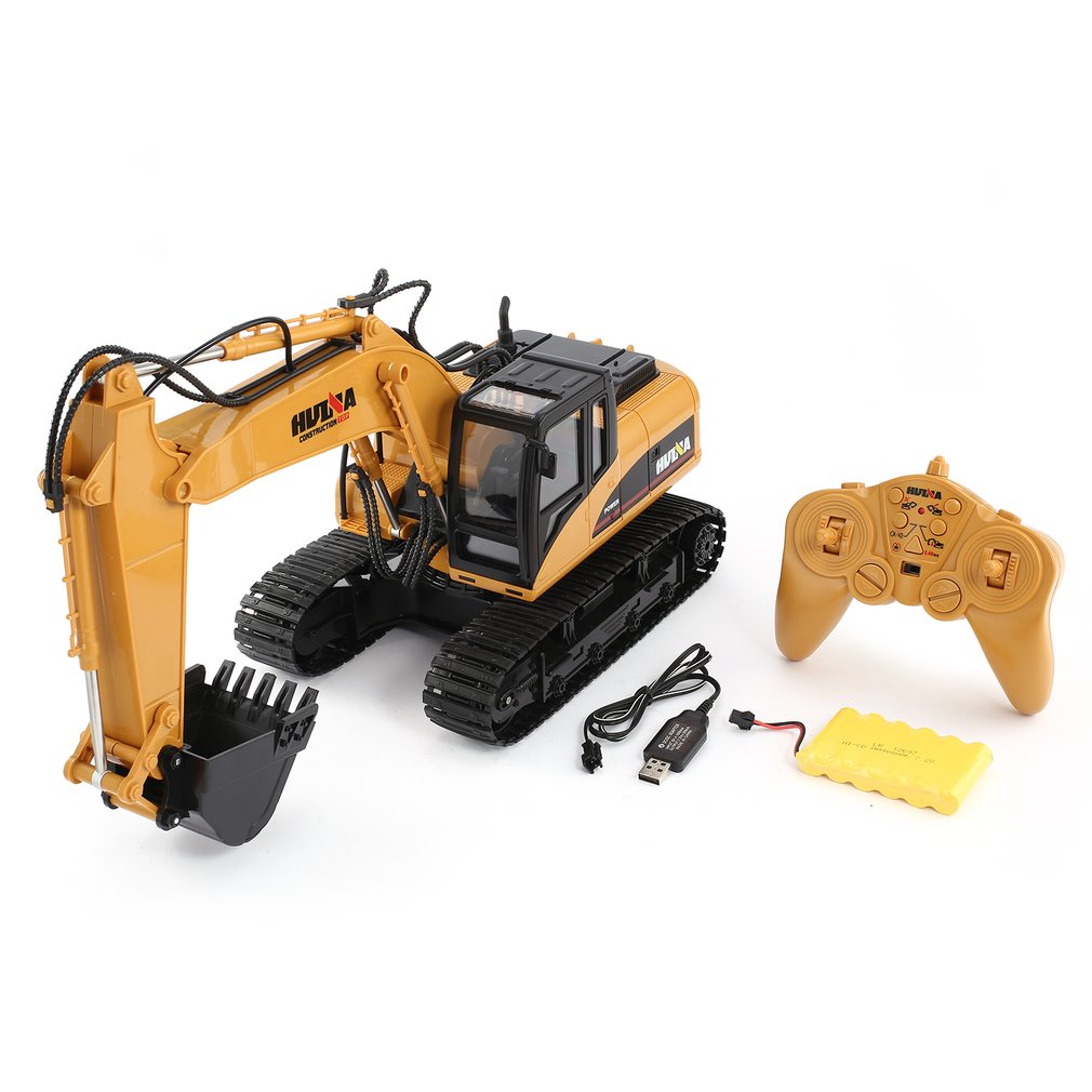 HUINA 1350 1/14 15CH 680 Degree Rotation RC Excavator Truck Construction Vehicle Toy Gift with Cool Sound/Light Effect for Kids