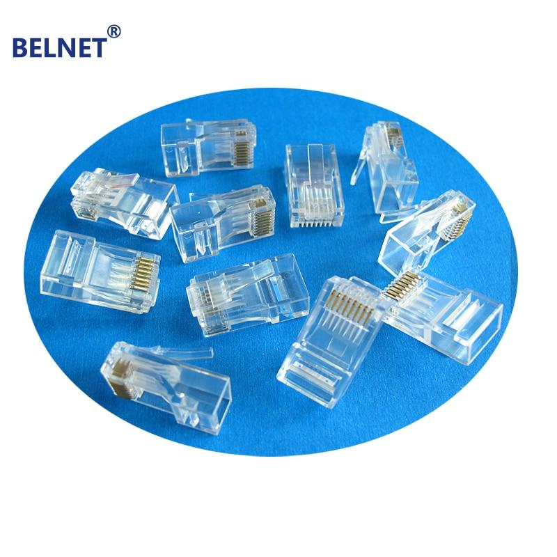 BELNET rj45 connector 100pcs CAT5e RJ45 plug 50u 24K gold-plated Net Gold plated Network Modular Plug Cat5e Cables Connector