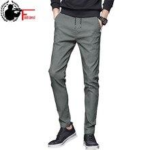 1684f38ce8 Spodnie na lato mężczyzna Skinny Stretch koreański Casual spodnie Slim Fit  Chino elastyczny pas Jogger spodnie sukienka mężczyzn.