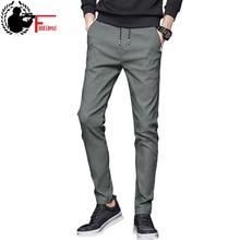 Summer Pants Mens Skinny Stretch Korean Casual Slacks Slim Fit Chino Elastic Waist Jogger Dress Trousers Male Black Blue Green