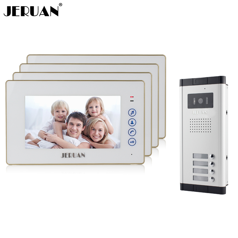 JERUAN  Apartment Doorbell Intercom 7 Inch Touch Key Video Door Phone  Intercom System 4 Monitor 1 HD Camera For 4 Household