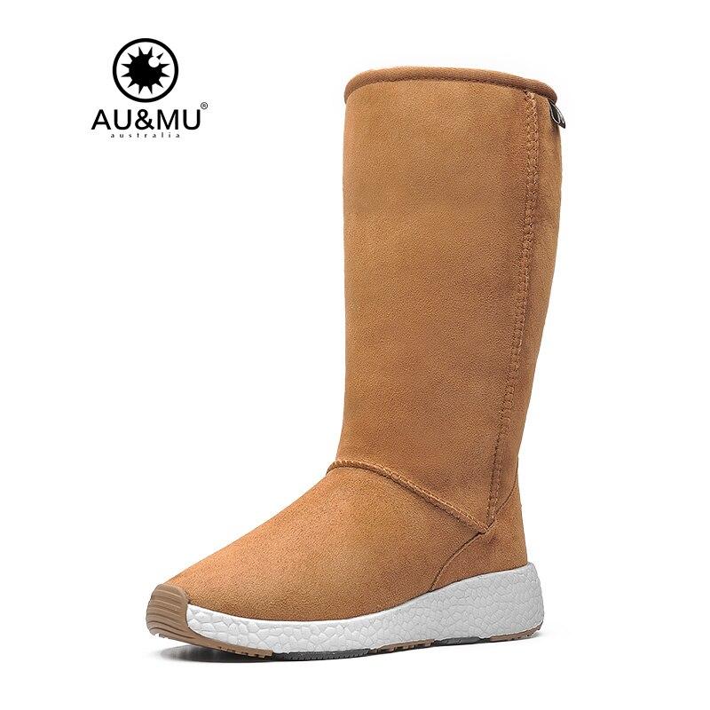 2018 AUMU Australia Womens Classic Wild Mid Calf Fur Sheepskin Pull On Suede Winter Snow Boots NY731 2017 aumu australia comfort suede fur mid calf flat lace up round toe winter snow boots ug n728