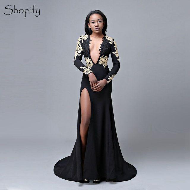 68c4b1e15ed0 Long Elegant Prom Dresses 2019 Deep V-neck Long Sleeve Open Back Floor  Length Side Slit African Black Prom Dress