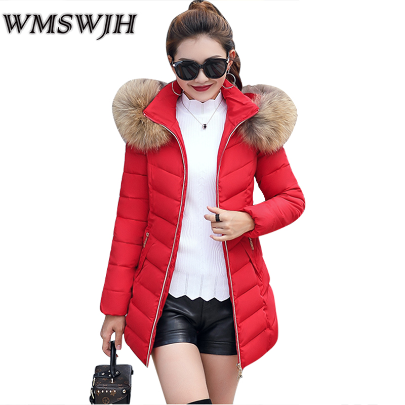 New 2017 Winter Jacket Women Big Fur Collar Hooded Long Parka Thick Warm Cotton Padded Snow Wear Female Jacket Winter Coat A20 new 2017 winter women coat long cotton jacket fur collar hooded 2 sides wear outerwear casual parka plus size manteau femme 1858