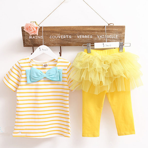 Baby Girl Dress with Yellow Top and Stripe Skirt